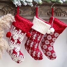 Knitted Xmas Wool Socks Stockings Elk Snowflake Candy Gift Bag Tree Decor