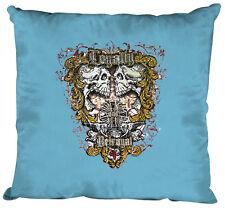 10831-1 bleu clair Coussin décoratif 40x40 cm coussin+Remplissage Tête de mort