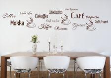 Wandaufkleber: Kaffee Sammlung Cafe Mokka Cappuccino Küche Esszimmer WandTattoo