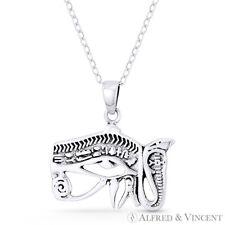 Eye of Horus Snake Egyptian Udjat Wedjat .925 Sterling Silver Luck Charm Pendant