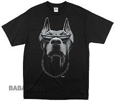 Doberman T-Shirt Black Big Animal Print Dog with Sunglasses and Chain BABA