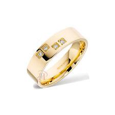 9ct oro amarillo plano 5mm Corte Diamante 0.04 QUILATES Set Alianza