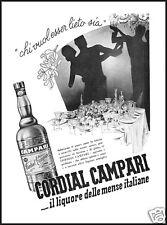 PUBBLICITA' 1937 CORDIAL CAMPARI FESTA BANCHETTO BALLO BOTTIGLIA LIQUORE DRINK