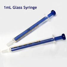 LOT 1mL Blue Glass Syringe Injector Dosage Precision Ideal Lab Sampler Glassware