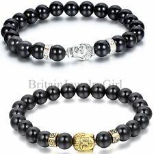 Lucky Men Bead 8mm Black Imitation Agate Stone Tibet Buddha Bracelet, 8.9 Inches