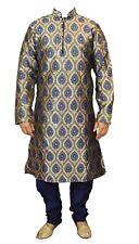 Mens azul Jacquard Kurta Pijama Sherwani Salwar Kameez-GR870