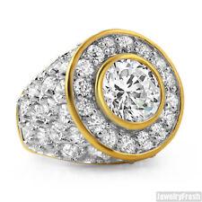 10.5 Carat Lab Made Gold Finish Big Rocks Custom Mens Ring