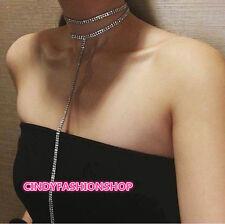 USA Women Ladies Rhinestone Choker Necklace Jewelry Double -Strand Layered