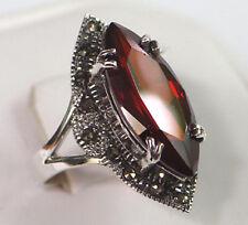925 ECHT SILBER *** Großer Zirkonia granat rot Markasit Ring, Größenauswahl