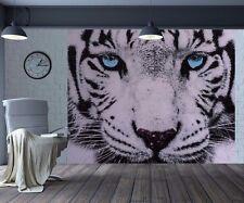 Stunning Close up white tiger blue eyes wallpaper wall mural (37480445)