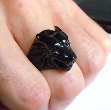 Cabeza de Lobo Hombre Anillo Acero Inoxidable Negro Winterfell Motorista Gótico