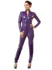 Femme Honour sexy catsuit en pvc violet avec col haut & longsleeves