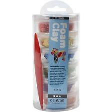 Foam Clay Assorted Colours 6 x 14g Pots Metallic or Glitter