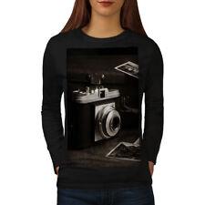 Wellcoda Old Photo Camera Womens Long Sleeve T-shirt, Vintage Casual Design