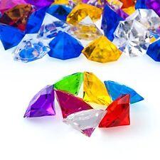 "Acrylic Flat Head Diamonds Gems Crystals Jewels 1"" inch Assorted Colors 25 Carat"