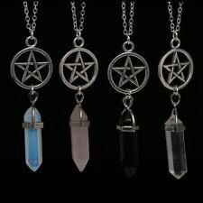 Achat Kristall Sechskantsäule Anhänger Schmuck Pentagram-Halsketten