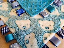 Personalised Luxury Baby Taggy Blankie, Comfort Blanket, Teddy, Pink or Blue