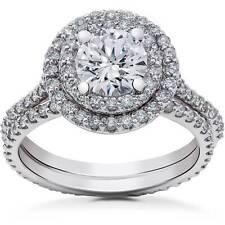 2 ct Round Halo Diamond Engagement Ring Setting & Matching Eternity Band 14k