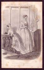 1850's ANTIQUE Wedding Dresses Bridal Gowns Costume Fashion Art Engraving PRINT