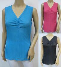 Womens Travel Knit V-Neck Sleeveless Tank Top Wrinkle Free Size S~1X