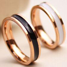 Black/White Titanium Steel Band Men/Women's Gift Rose Gold Plated Ring Size 3-10