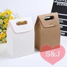 10x Kraft Paper Bag Party Favour Box 10x6x15cm White Brown Pouch Handle Cupcake
