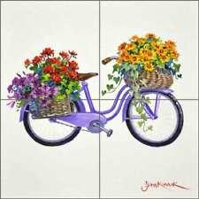 Floral Art Tile Backsplash Senkarik Bicycle Ceramic Mural MSA212