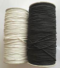 ROUND ELASTIC FOR DRESSMAKING,HATS,CRAFT BLACK/WHITE 1.5mm Bungee Hat 5m 10m