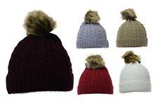 Nouveau faux racoon fur ball pom bonnet pompon ski chapeau bonnet en tricot torsadé * lick *