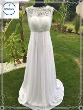 34 36 38 40 42 44 46 48 50 Vintage Weiß Ivory Brautkleid Hochzeitskleid Schleppe