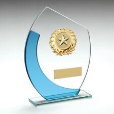 Glass Sky Blue Curved Trim Trophy Multi sport - FREE ENGRAVING Gymnastics Squash