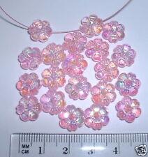 50 Rosa Fiore Margherita 10mm sfaccettate AB Iridescente perle plastica acrilica PIATTO