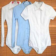 Donna Body Camicia Camicetta Con Bottoni Corto Lungo Maniche Maglia Bianco