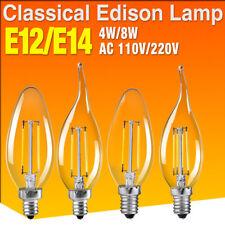 Vintage E12 E14 Lámpara Vela Bombillas de filamento Edison Luz LED AC 110V/220V 699E