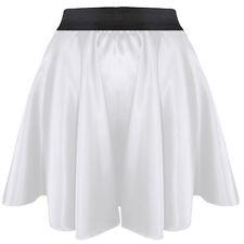 White HOT Women Girl Satin Short Mini Dress Skirt Pleated Retro Elastic Waist