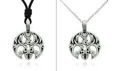 Gothic Phoenix Bird Silver Pewter Charm Necklace Pendant Jewelry