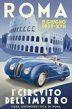Vintage 1939 Rome Motor Racing Poster  A3 Print