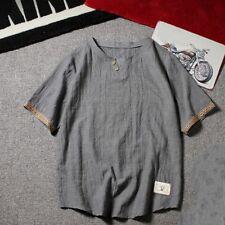 Men Linen Cotton T-shirt V-Neck Short Sleeve Vintage Casual Tee Top Faddish New