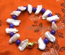 12-15mm White Natural Fw Biwa Pearl and 6mm Round Blue Jade 7.5'' Bracelet-328