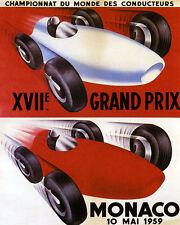 POSTER 1959 MONACO CAR RACING AUTOMBOBILE GRAND PRIX VINTAGE REPRO FREE S/H
