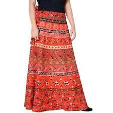 Cotton Maxi Long Skirt Animal Print Repron Orange Sarong Women Boho Skirt