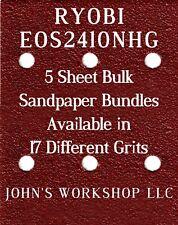 RYOBI EOS2410NHG - 1/4 Sheet - 17 Grits - No-Slip - 5 Sandpaper Bulk Bundles