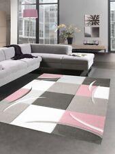 Design carpet rug karo pastel pink cream taupe