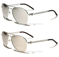 Nuevas gafas de sol Khan diseñador para hombre Damas Grande Plata Grande Con Espejo Aviator Uv400