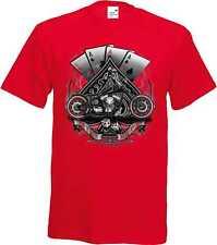 Camiseta roja con un Biker-&Old Schooldruck Modelo Four Aces