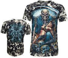 Mens Grim Reaper Skull Death Glow In Dark Biker Tattoo Tye Dye T- Shirt M - XL