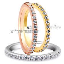 18K GOLD GF LAB DIAMONDS WEDDING ETERNITY BAND LADIES GIRLS MIDI STACK RING GIFT