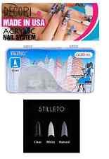 SALON NAIL TIPS 500 STILETTO NATURAL CLEAR WHITE acrylic  like mia secret