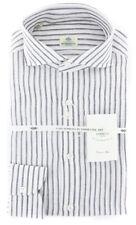 New $450 Borrelli White Striped Shirt - Extra Slim - (2018022113)