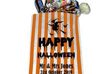 PERSONALISED Happy Halloween Sweet Bags Orange & White with Black Writing